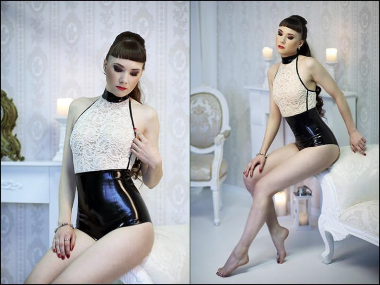 Model in schwarzem Body aus Latex mit Spitze