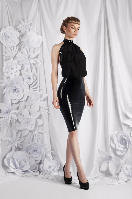 Zuschnitt Outfit Ginevra aus Chiffon und Latex von Lüllepop LatextilCouture